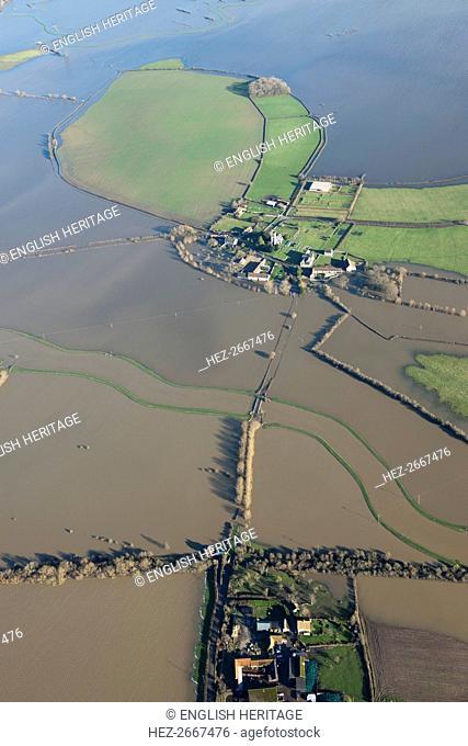 Aerial view of flooding around Muchelney Abbey, Somerset Levels, January, 2014. Artist: Damian Grady