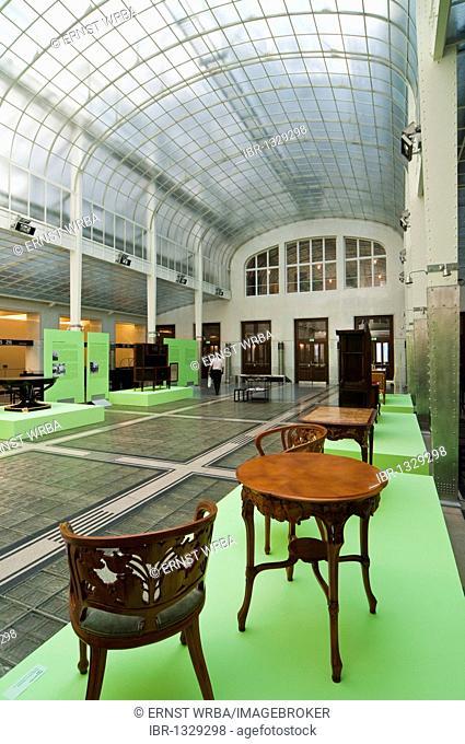Banking hall, Vienna Postal Savings Bank building designed by Otto Wagner, Art Noveau, Vienna, Austria, Europe