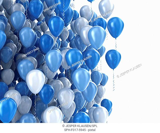 Blue balloons, illustration