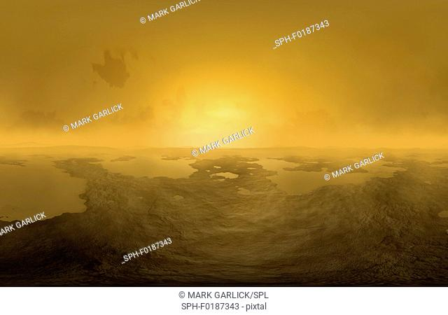 Surface of Titan, computer artwork. This is Saturn's largest moon and the only moon to have a planet-like atmosphere. The atmosphere consists of nitrogen and...