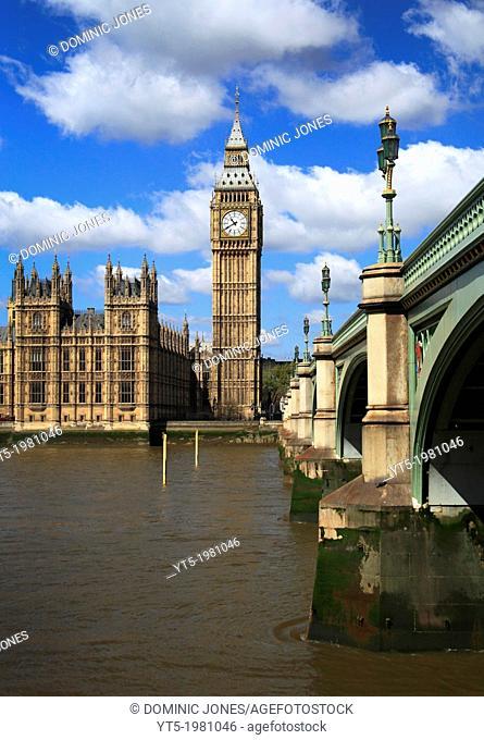Westminster Bridge crosses the Thames leading to Big Ben, London, England, Europe