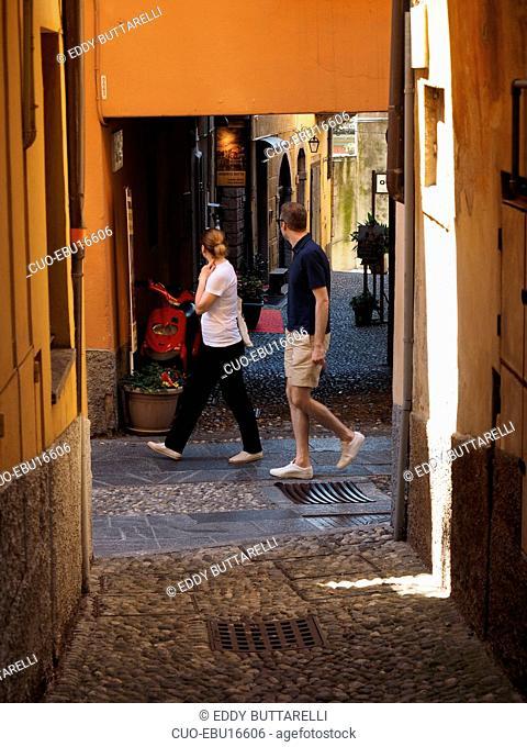 Historical center, Via Garibaldi street, Bellagio, Como Lake, Lombardy, Italy, Europe