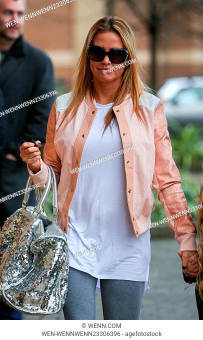 Katie Price arrives at the New Victoria Theatre in Woking with her daughter Princess Featuring: Katie Price, Jordan Where: Woking
