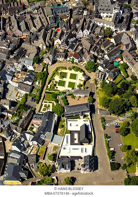 Aerial photo, magnificent building and garden of former bishop of Limburg Franz-Peter Tebartz-van Elst, view of the old town of Limburg with half-timbered...
