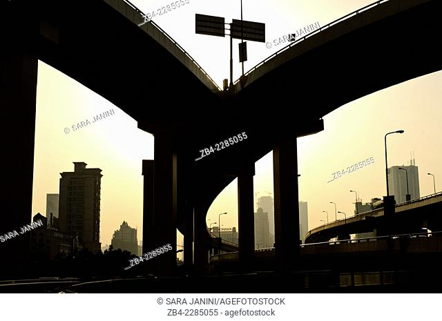 Road intersection, Huangpu District, Shanghai, China, Asia