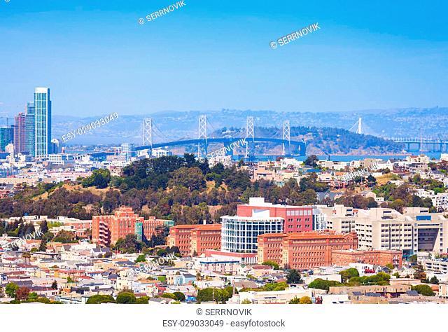 San Francisco Oakland Bay Bridge over the city view