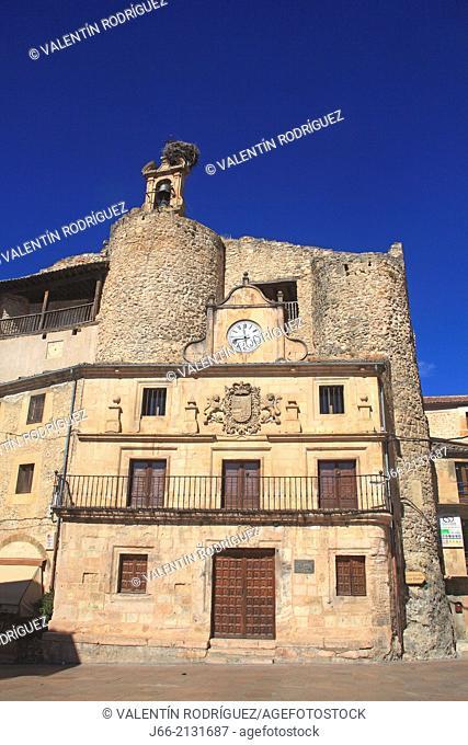 castles and baroque facade on the square Spain of Sepúlveda. Segovia