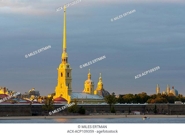 The SS Peter and Paul Cathedral rising above the Peter and Paul Fortress, Saint Petersburg, Russia