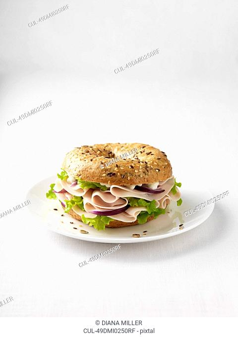 Ham and onion on plate