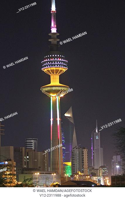 The Liberation tower, The Famous Landmark in Kuwait City at Night