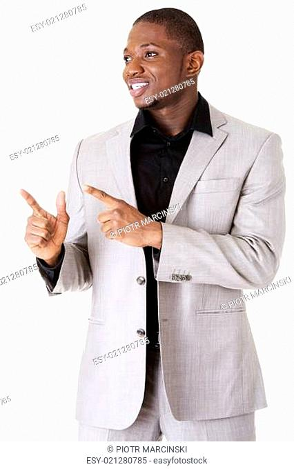 Businessman pointing on copy space