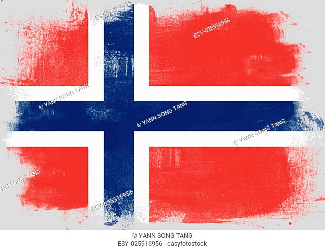 Flag of Norway painted with brush on solid background