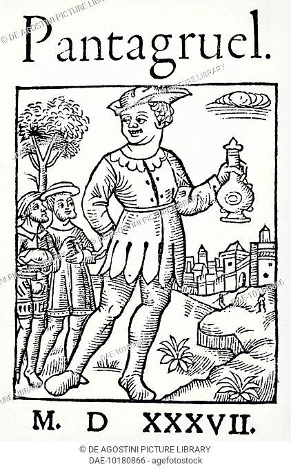 Title page of Pantagruel, novel by Francois Rabelais (1494-1553), 1537. France, 16th century.  Paris, Bibliothèque Nationale De France (Library)