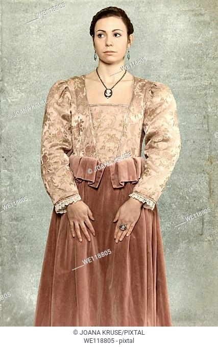 a woman in a victorian dress
