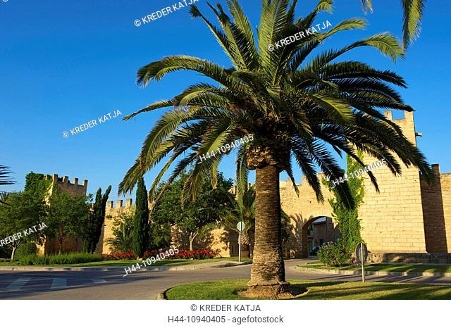 Balearic Islands, Majorca, Mallorca, Spain, Europe, outside, Alcudia, town wall, medieval, historically, old, day, nobody