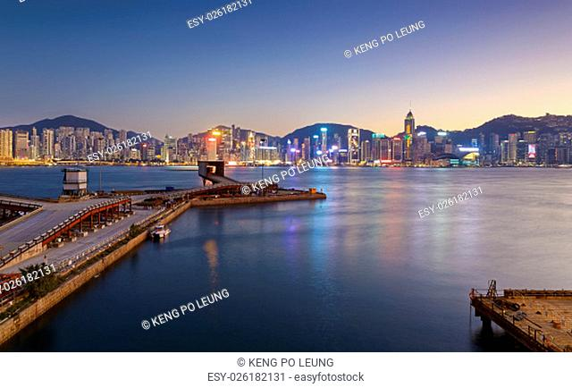 Hong Kong comercial container port at sunset