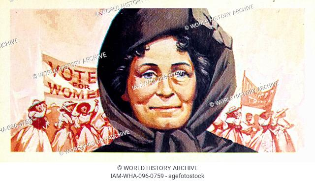 1969 Brooke Bond collectors tea card, depicting: Emmeline Pankhurst (1858 – 1928) British political activist and leader of the British suffragette movement who...