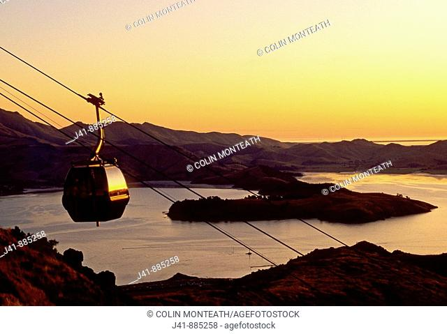 Mount Cavendish Gondola and Lyttelton Harbour at sunset Christchurch New Zealand