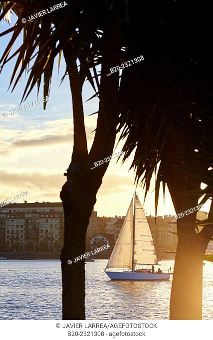 Sailboat in the Bay of Txingudi. Bidasoa River. In the background Hondarribia. View from Hendaye, Aquitaine, France