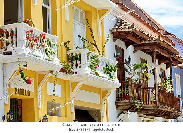 Segunda de Badillo street, Cartagena de Indias, Bolivar, Colombia, South America