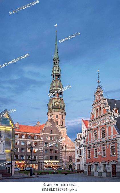 Ornate buildings in Riga cityscape, Riga, Latvia