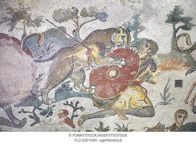 Ambulatory of the Great Hunt Roman mosaic, room no 28, at the Villa Romana del Casale, first quarter of the 4th century AD. Sicily, Italy