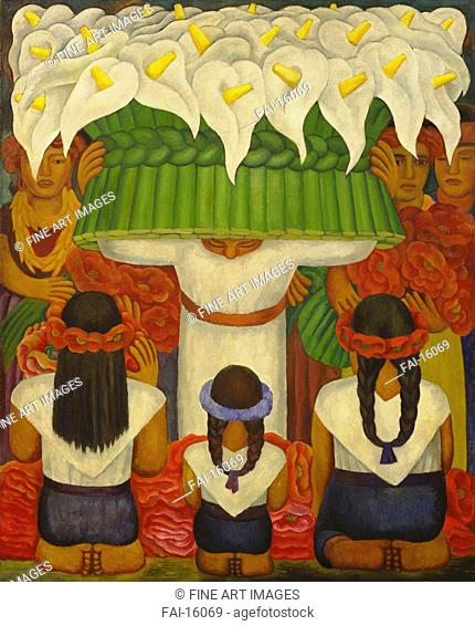 Flower Festival: Feast of Santa Anita. Rivera, Diego-Maria (1866-1957). Encaustic on canvas. Stridentism. 1931. © Museum of Modern Art, New York