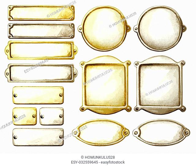 Set of watercolor metal plates. Rectangle, circle and oval frames in golden and silver. Vector marine design elements isolated on white background