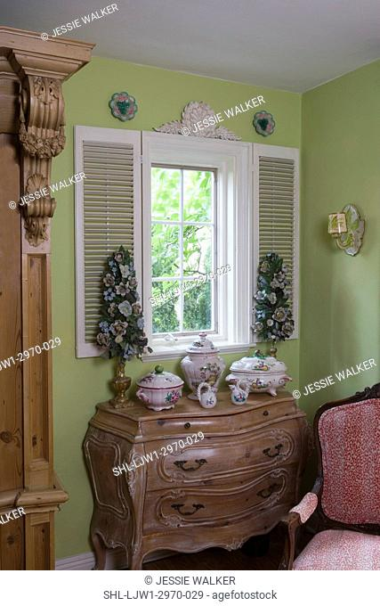 WINDOW TREATMENTS: Corner of living room of a cottage style home, lime green walls, French Provincial antique furniture and pottery