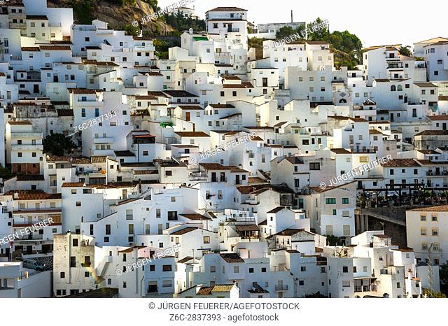 white houses of the village Casares, White Towns of Andalusia, Sierra Bermeja, Málaga province, Spain