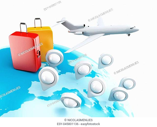 3D Illustration. Globe with map pointers, airplane and suitcase. Travel concept. Isolated white background
