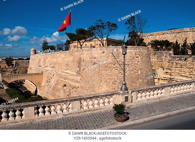 The defensive ditch surrounding Valletta, Malta