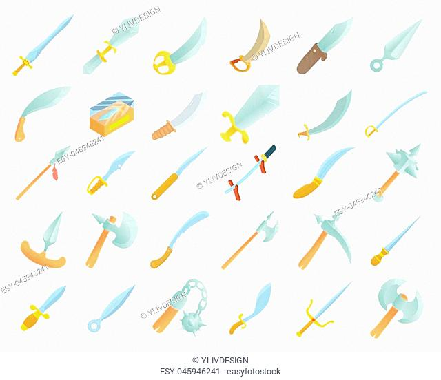 Sword icon set. Cartoon set of sword icons for web design isolated on white background