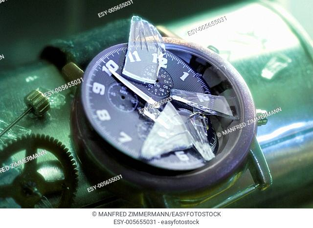 destructed clock, symbol of timeless; past, ect