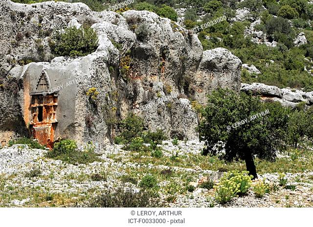 Turkey, Anatolia, Demre, rupestrian grave