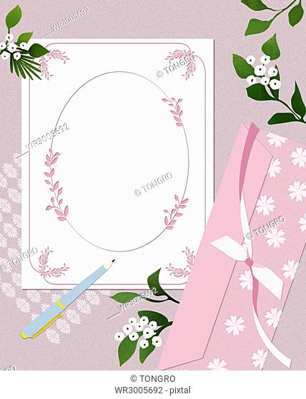 Wedding invitation card with flowers and pen
