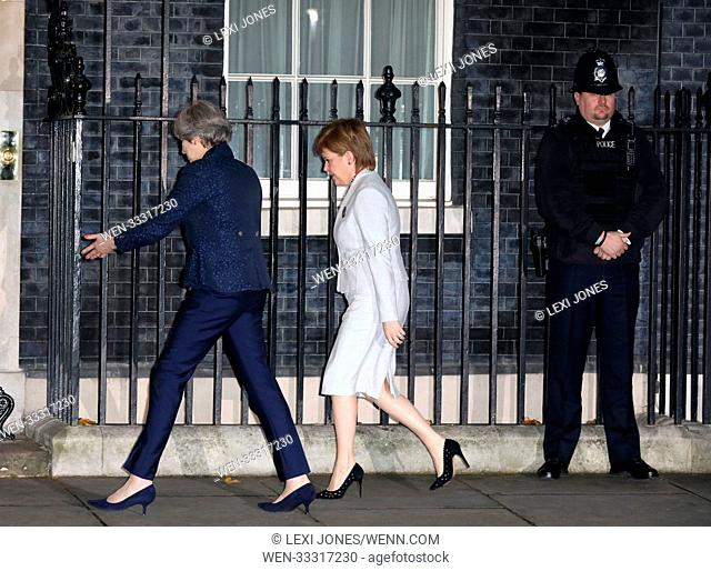 Nicola Sturgeon at 10 Downing Street, London, UK Featuring: Theresa May, Nicola Sturgeon Where: London, United Kingdom When: 14 Nov 2017 Credit: Lexi Jones/WENN