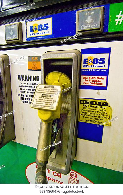 E85 Ethanol fuel pump at retail gasoline station for use in flex fuel vehicles, Tucson Arizona