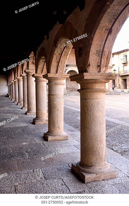 Main square in Siguenza, Guadalajara province, Castilla-La Mancha, Spain
