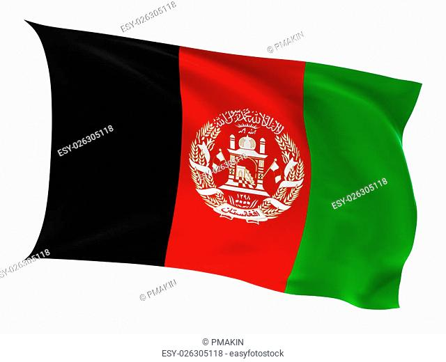 Flag of the Afganistan on a white background