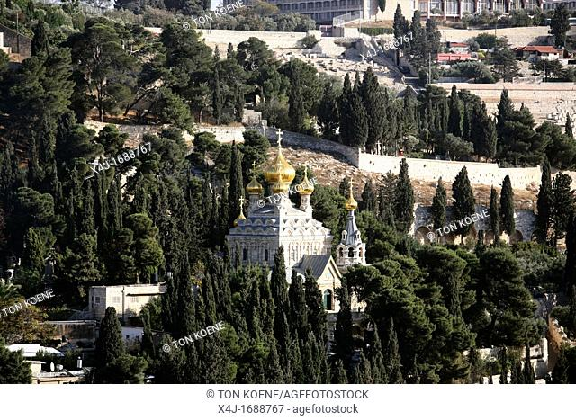 View of the Church of Mary Magdalene on the Mount of Olives, view from the old city of Jerusalem