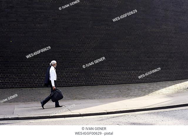 Elegant senior businessman with luggage walking on pavement