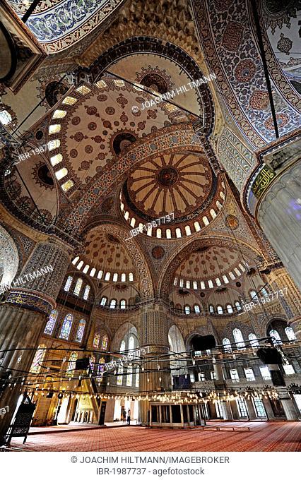 Sultan Ahmet Camii, Blue Mosque, interior view, Istanbul, Turkey