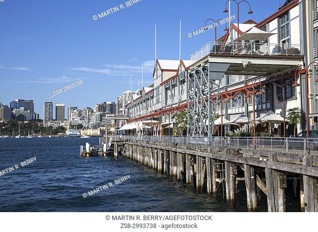 Walsh Bay in Sydney city centre by the harbour, modern apartments,bars and cafes,Sydney city centre,Australia