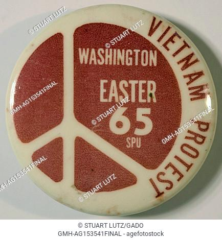 Pinback button with a peace symbol for an Easter protest, March on Washington, to call for an end to the Vietnam War, June 30, 2017