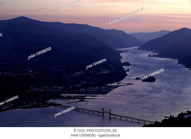 Overlooking the Columbia River in the spring at sunset. To the right is the Washington border and to the left is the Oregon Border and the town of Hood River