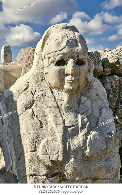 Picture & image of Hittite Sphinx sculpture of the Sphinx Gate. Hattusa (also Ḫattuša or Hattusas) late Anatolian Bronze Age capital of the Hittite Empire