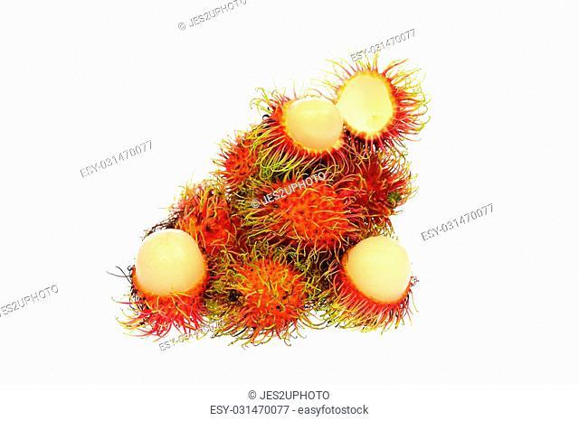 Fresh rambutan with rambutan stag ,fruit has a sweet taste