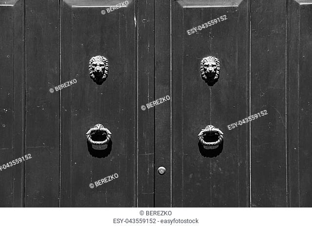 Vintage door knocker in the shape of lion head in Verona, Italy