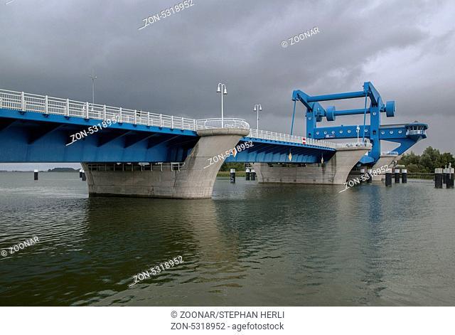 Bridge of the town Wolgast over the Peene stream